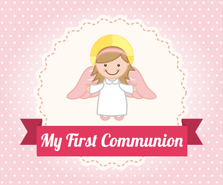 first communion over dotted background illustration Vector