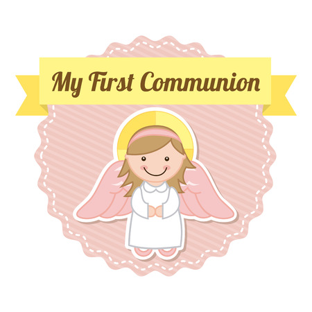 first communion over white background illustration Vector