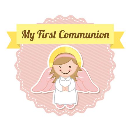 primera comunion: primera comunión sobre fondo blanco Ilustración