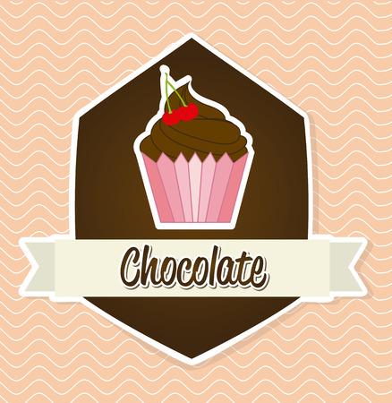 berryes: chocolate design over pink background illustration Illustration