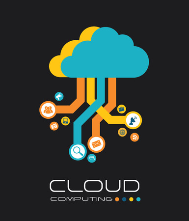 cloud search: Technology design over gray background, illustration