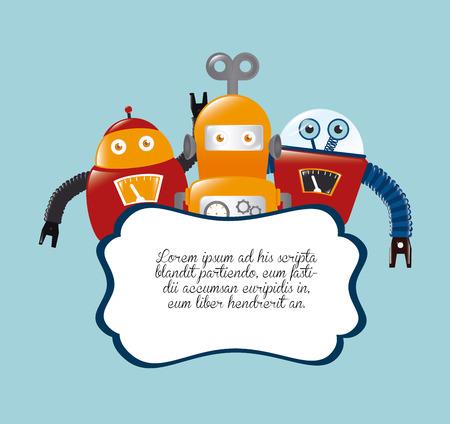 Robot design over blue background, illustration Vector