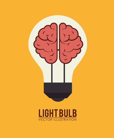 Bulb design over yellow background, illustration 向量圖像