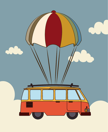Transport design over cloudscape background, illustration Illustration
