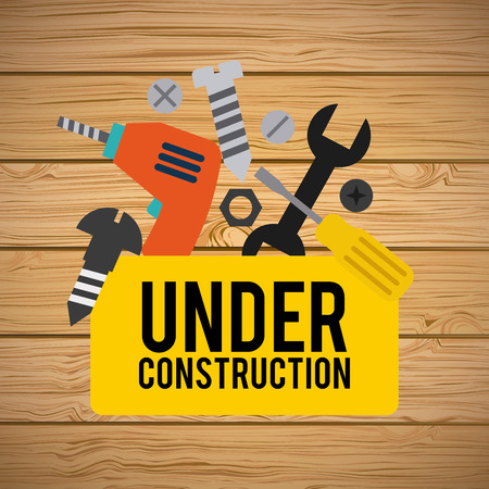 dangerous construction: under construction design over wooden background vector illustration