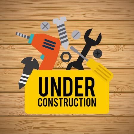 dangerous work: under construction design over wooden background vector illustration