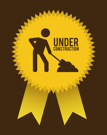 under construction design over brown background vector illustration Stock Vector - 29761823