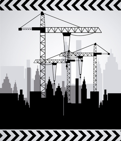 dangerous work: under construction design over gray  background vector illustration