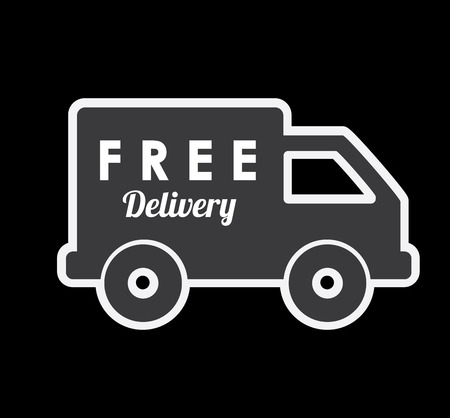 free shiping: delivery design over black  background vector illustration Illustration