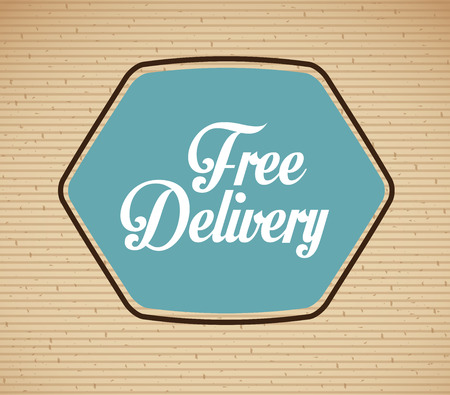 free shiping: delivery design over lineal background vector illustration