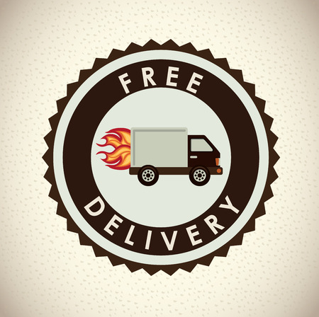 free shiping: delivery design over beige  background vector illustration