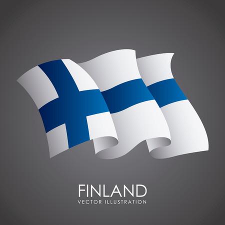 Finnland Design über grauem Hintergrund, Vektor-Illustration