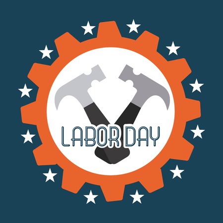 labor day: Labor day design over blue background, vector illustration