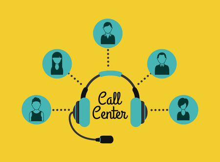in center: Call center design over yellow background, vector illustration Illustration