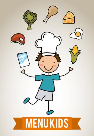 boy child: menu per bambini su sfondo grigio illustrazione vettoriale Vettoriali