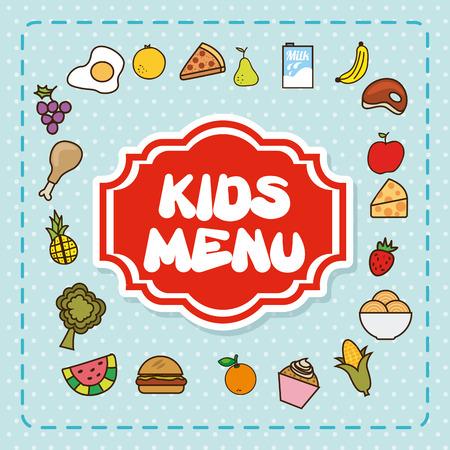 menu kids over pattern background vector  illustration