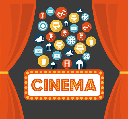 cinema design over gray background vector illustration Vector