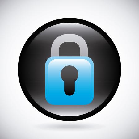 secured: Icon design over gray background, vector illustration Illustration