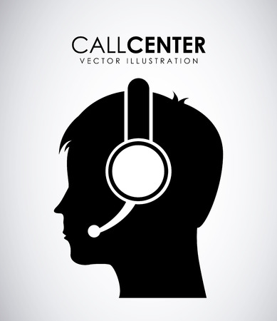 call icon: Call center design over gray background, vector illustration