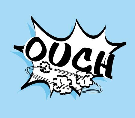 ouch: Pop art design over blue background, vector illustration Illustration