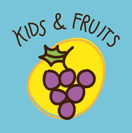 fruits design  over blue  background vector illustration