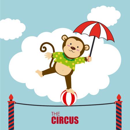cirque: Circus design over cloudscape background, vector illustration