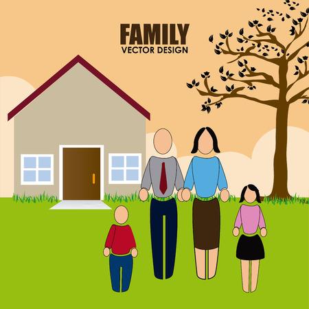 Family design over landscape background, vector illustration Illustration