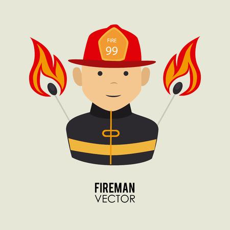 Fireman design over beige background, vector illustration Vector