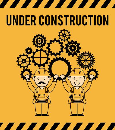 under construction design over orange background vector illustration Ilustração