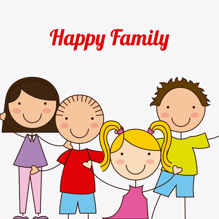 happy couple at home: happy family over white background vector illustration