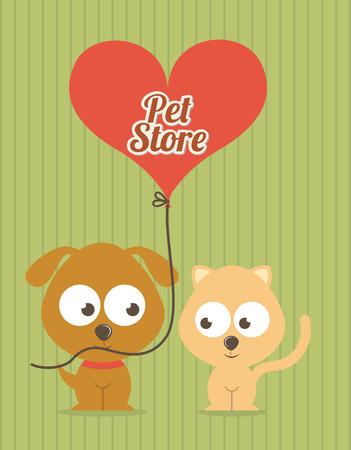 pets design over lineal background vector illustration Vector