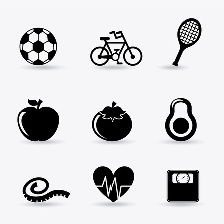 tennis racket: healthy lifestyle over white background vector illustration