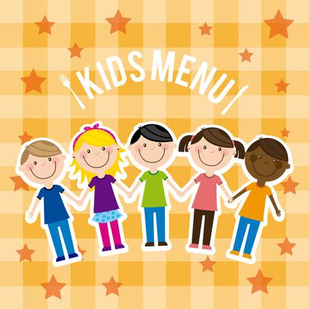 menu kids over pattern  background vector  illustration Vector