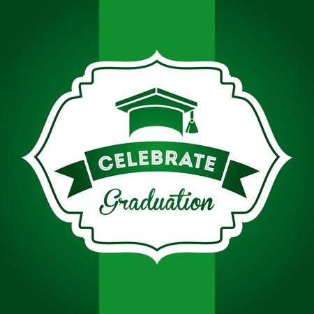 graduation design over green background vector illustration   Vector