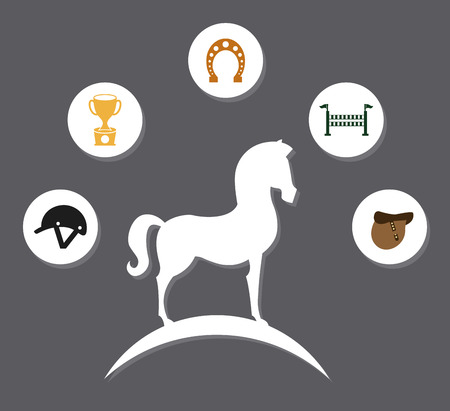 fenced: horse design over gray background vector illustration
