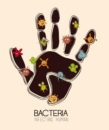 Bacteria design over beige background, vector illustration