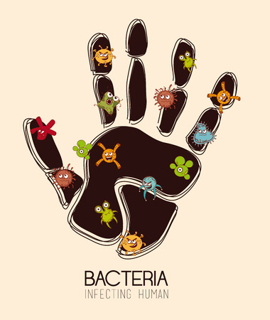 bacterial: Bacteria design over beige background, vector illustration