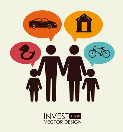 familiy: Money design over beige background, vector illustration Illustration