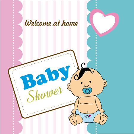 home birth: Baby shower design over colorful background, vector illustration