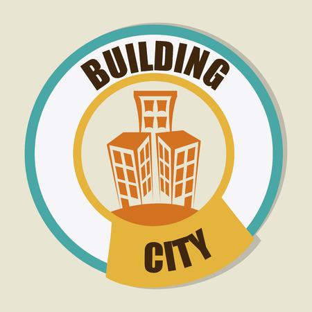 urbanisierung: Stadtentwurf �ber beige Hintergrund, Vektor-Illustration