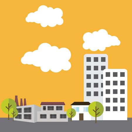 urbanisierung: Stadt-Design auf gelbem Hintergrund, Vektor-Illustration