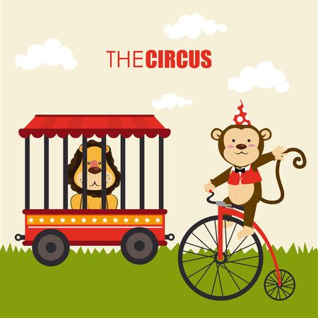 cirque: Progettazione Circo su sfondo giallo, illustrazione vettoriale