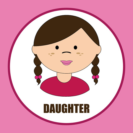 daugther: Family design over pink background, vector illustration