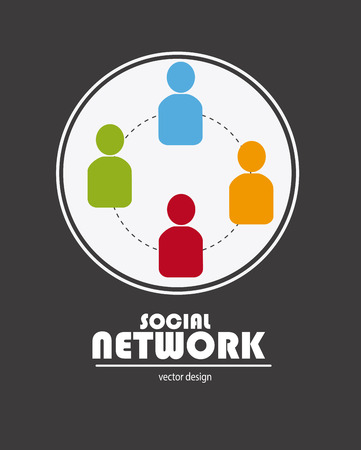 socializing: Social network design over gray background, vector illustration