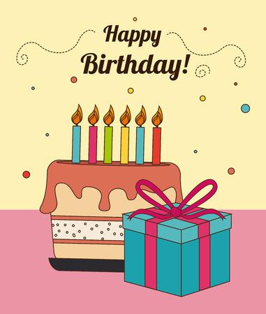proclaim: Birthday design over beige background, vector illustration Illustration