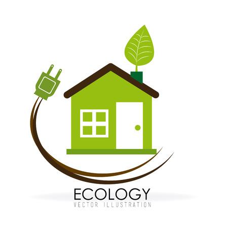 guard house: Ecology design over white background, vector illustration