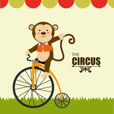 circus bike: Dise�o del circo sobre fondo beige, ilustraci�n vectorial Vectores