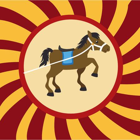 cirque: Progettazione Circo su strisce gialle e rosse sfondo, illustrazione vettoriale