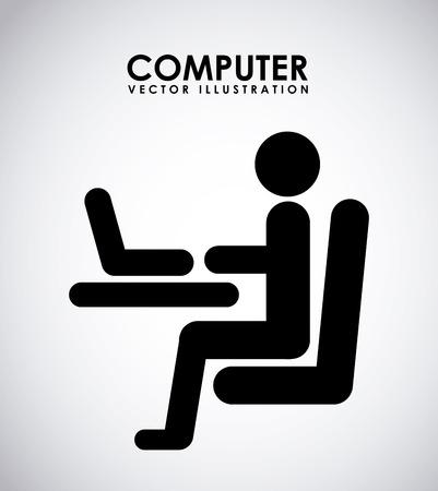 computer design over gray background vector illustration Vector