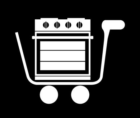 black appliances: appliances design over black background vector illustration